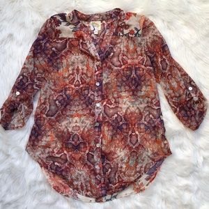 Fit and meadow sheer button up blouse snake floral